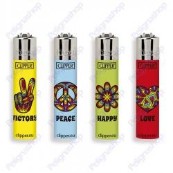 Clipper Micro fantasia PEACE & LOVE - 4 Accendini