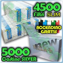 5000 Cartine Rizla Silver Corte + 4500 Filtri Slim 6mm Rizla