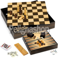 JUEGO Scacchiera Lusso 7 giochi Dama Scacchi Backgammon