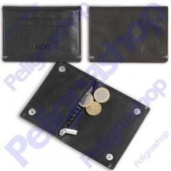 Portacarte portamonete in pelle EGOIST con clip e cerniera