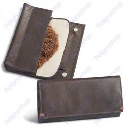 Portatabacco EGOIST Marrone in pelle con inserti in tessuto gessato JK06115