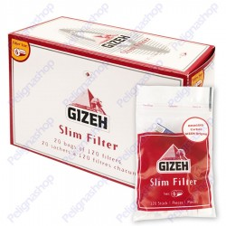 Gizeh Slim 6mm con Cartina Original Corta - Box 20 Bustine da 120 Filtri