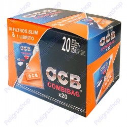 Ocb Slim 6 mm Combibag - Box da 20 Buste da 50 Filtrini e Libretto Orange Corte