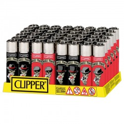 Clipper Large Fantasia SKULLS & POKER - Box da 48 Accendini