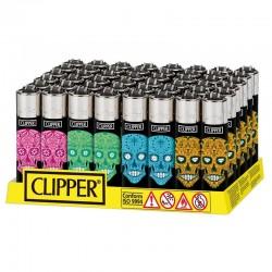 Clipper LARGE Fantasia MEXICAN SKULLS 4 H - Box da 48 Accendini