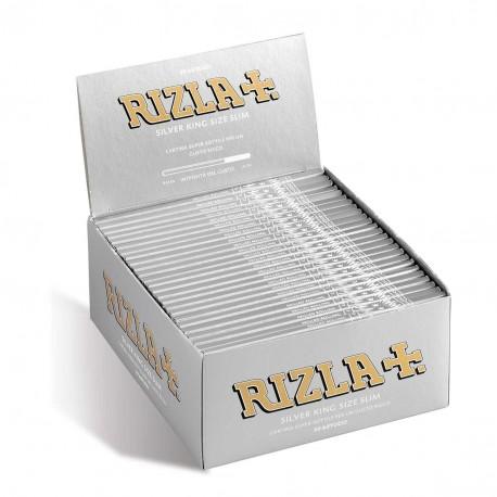RIZLA CARTINE LUNGHE SILVER KING SIZE SLIM ARGENTO confezione da 50 libretti