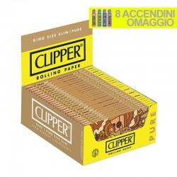 Cartine Clipper Pure King Size Slim Lunghe - Box da 50 Libretti