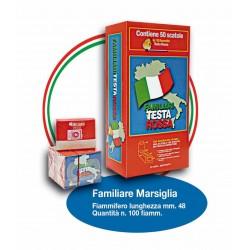 Fiammiferi Familiari Marsiglia Testa Rossa - 5 scatoline da 100 fiammiferi