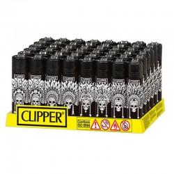 Clipper Large INDIAN SKULLS K - Box da 48 Accendini