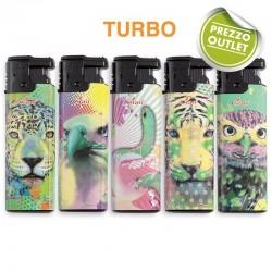 Ciao Turbo ANIMAL FLUO - Box da 50 Accendini