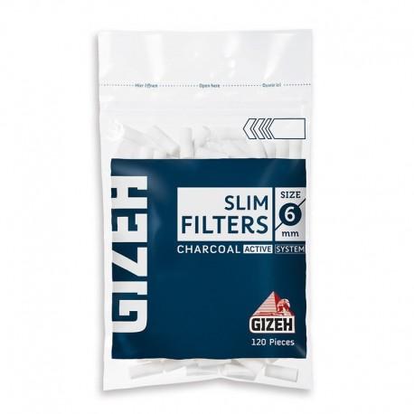 Gizeh Slim 6mm Carboni Attivi - Box da 20 Bustine da 120 Filtri