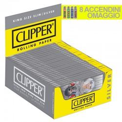 Cartine Clipper Argento King Size Slim Lunghe - Box da 50 Libretti