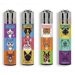 4 Accendini Clipper Large COMBO CATS&DOGS serie 1