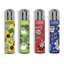 4 Accendini Clipper Large ZOO PARTY serie 2