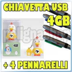 Penna usb COUNTRY TRIBE pendrive chiavetta 4gb GALLINA