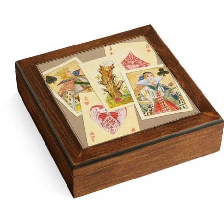 Scatola in legno Poker set Royale Navarra carte fiches