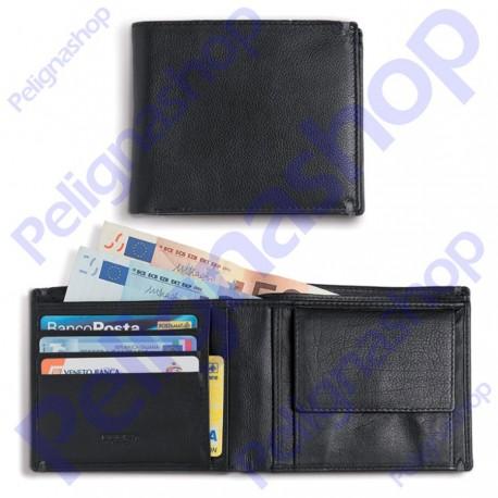Portafoglio orizzontale in pelle EGOIST con tasche portamonete