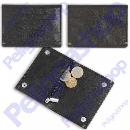 4611c3dbc9 Portacarte portamonete in pelle EGOIST con clip e cerniera - Pelignashop