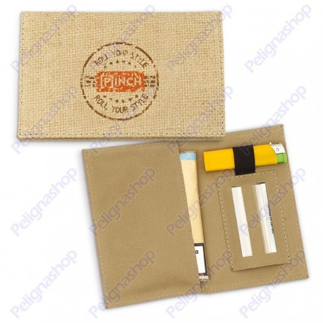 Portatabacco PINCH JUTA in fibra di iuta porta cartine e accendino