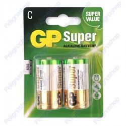 Batterie GP SUPER Mezze Torce Pile size C 14A LR14 1 Blister da 2 alcaline