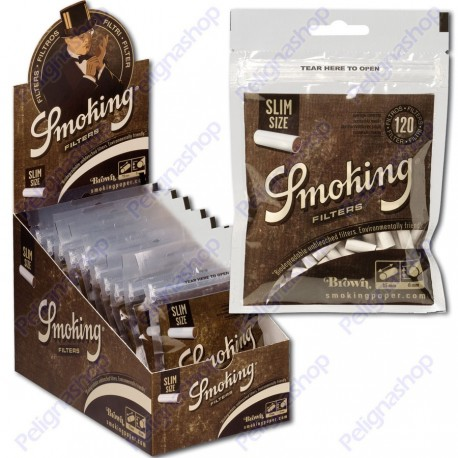 Smoking Brown Slim 6mm Biodegradabili - Box 10 Bustine da 120 Filtri