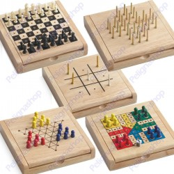 Juego Mini Travel Game Wood 5 giochi portatili in legno